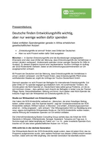 Deutsche finden Entwicklungshilfe wichtig, aber nur wenige wollen dafür spenden
