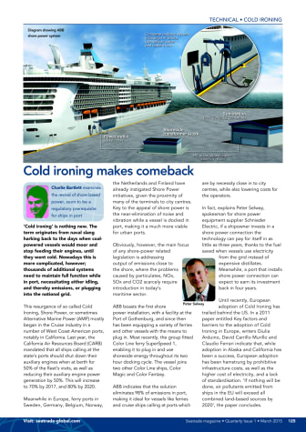 Cold ironing makes comeback: Seatrade Magazine article on shore power