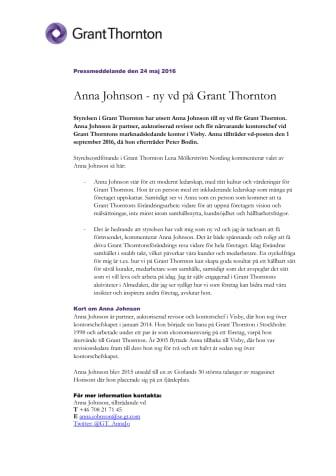 Anna Johnson - ny vd på Grant Thornton