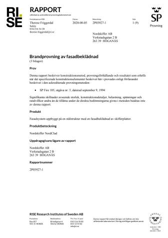 Brandtest SPFire105 Takskiffer NordClad Nordskiffer Rapport RISE 200805