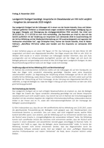 Landgericht Stuttgart bestätigt: Ansprüche im Dieselskandal um VW nicht verjährt - Vorgehen bis Jahresende 2019 möglich