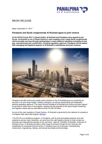 Panalpina and Saudi conglomerate Al Rushaid agree to joint venture