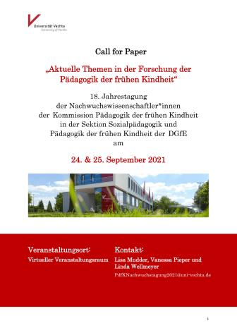 Anmeldeformular und Tagungsprogramm 18. Jahrestagung der Nachwuchswissenschaftler*innen der Kommission Pädagogik der frühen Kindheit