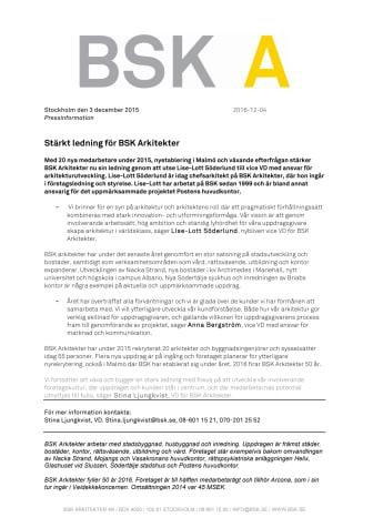 Stärkt ledning för BSK Arkitekter