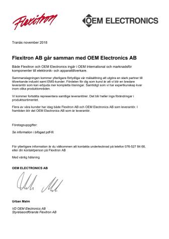 Flexitron AB går samman med OEM Electronics AB