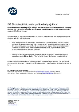 ISS får fortsatt förtroende på Sunderby sjukhus