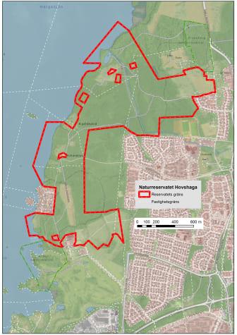 Karta över området som planeras bli naturreservat. Foto: Martin Unell, Växjö kommun