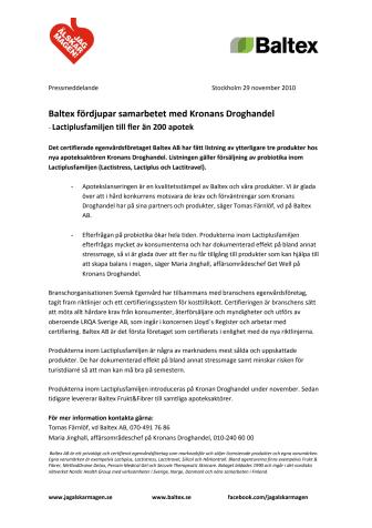 Baltex fördjupar samarbetet med Kronans Droghandel - Lactiplusfamiljen till fler än 200 apotek