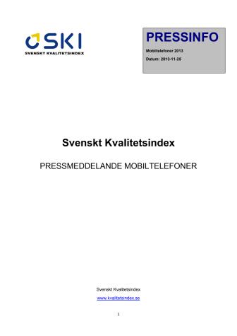 Svenskt Kvalitetsindex om mobiltelefoner 2013