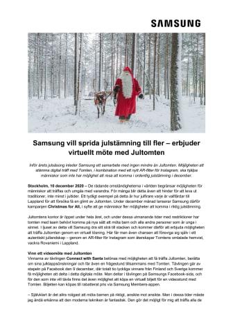 Samsung vill sprida julstämning till fler – erbjuder virtuellt möte med Jultomten