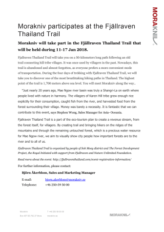 Morakniv participates at the Fjällraven Thailand Trail.