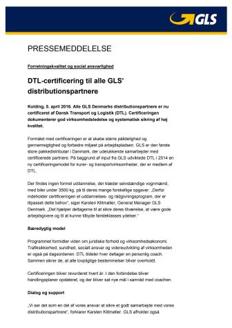 DTL-certificering til alle GLS' distributionspartnere
