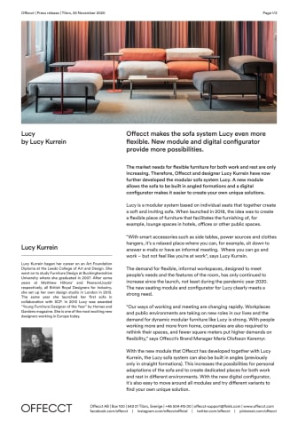 Offecct makes the sofa system Lucy even more flexible. New module and digital configurator provide more possibilities.