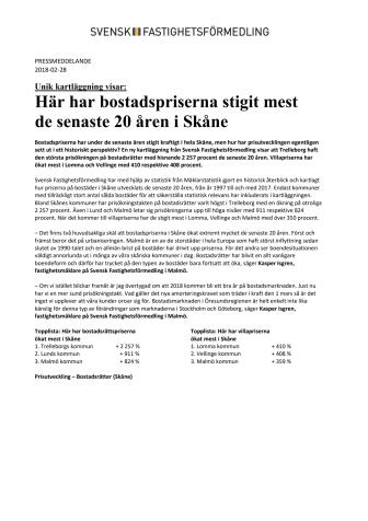 Unik kartläggning visar: Här har bostadspriserna stigit mest  de senaste 20 åren i Skåne
