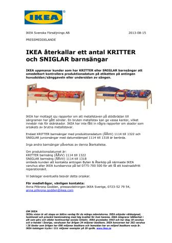 IKEA återkallar ett antal KRITTER och SNIGLAR barnsängar