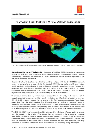 Successful first trial for EM 304 MKII echosounder