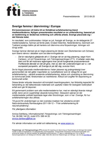 Sverige femma i återvinning i Europa