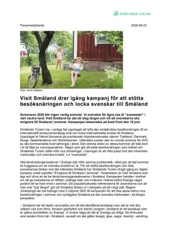 Visit Småland drar igång kampanj för att stötta besöksnäringen och locka svenskar till Småland