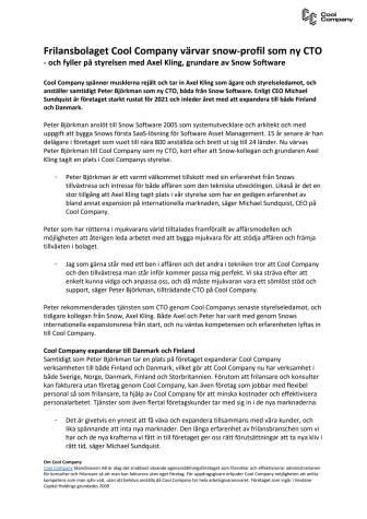Pressmeddelande - Cool Company värvar snow-profilen som ny CTO..pdf