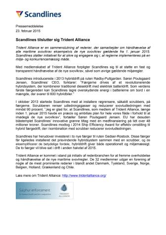 Scandlines tilslutter sig Trident Alliance