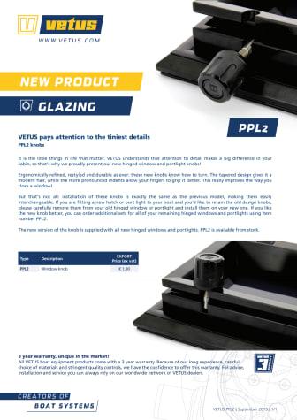 VETUS PPL2 knobs - Information Sheet