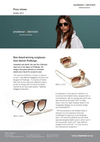 New Award-winning sunglasses from Danish ProDesign