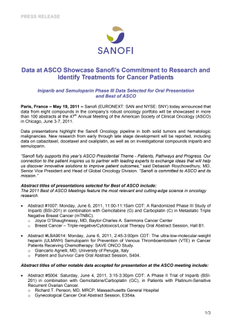 Data at ASCO Showcase Sanofi's Commitment to Research and Identify Treatments for Cancer Patients