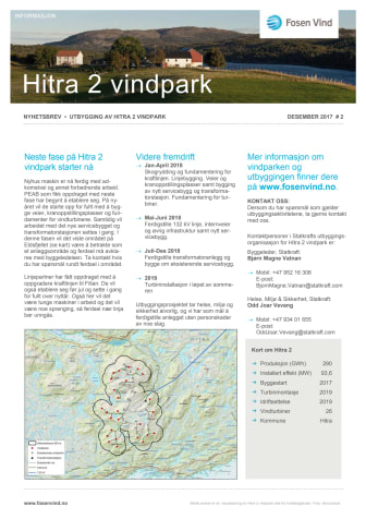 Nyhetsbrev Hitra2 vindpark #2 - 2017