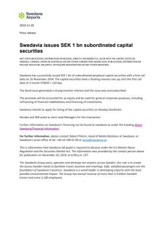 Swedavia issues SEK 1 bn subordinated capital securities