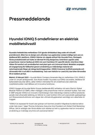 Hyundai IONIQ 5 - pressmeddelande inkl specifikationer