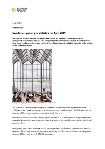 Swedavia's passenger statistics for April 2019