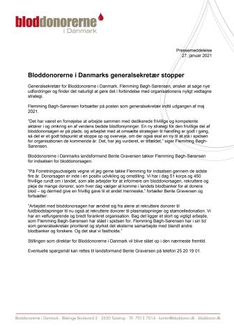 Bloddonorerne i Danmarks generalsekretær stopper