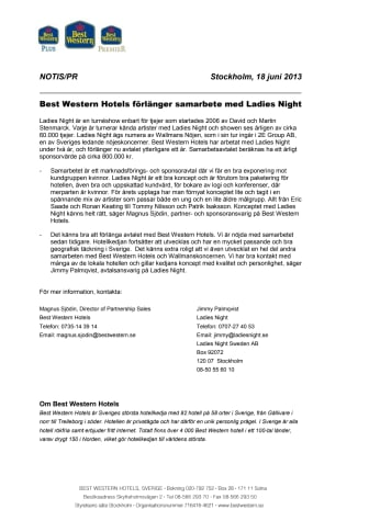 Best Western Hotels förlänger samarbete med Ladies Night