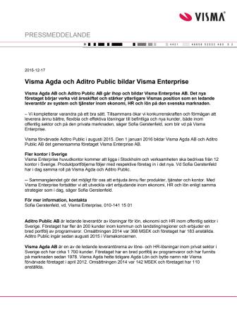 Visma Agda och Aditro Public bildar Visma Enterprise