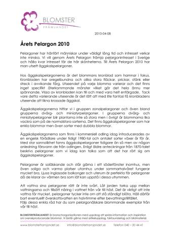 Årets Pelargon 2010