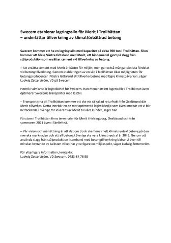 Swecem etablerar lagringssilo för Merit i Trollhättan – underlättar tillverkning av klimatförbättrad betong