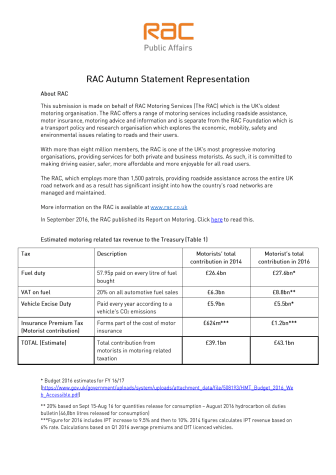 RAC Autumn Statement representation to the Treasury