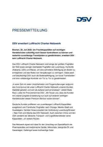 DSV erweiter Luftfracht Charter-Netzwerk