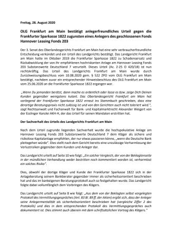 OLG Frankfurt am Main bestätigt Urteil gegen die Frankfurter Sparkasse 1822 zugunsten eines Anlegers des geschlossenen Fonds Hannover Leasing Fonds 203