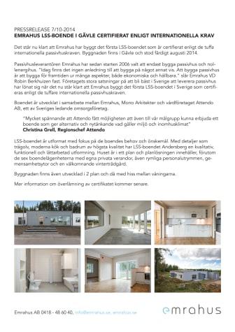 Emrahus LSS-boende i Gävle certifierat enligt internationella krav