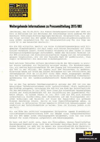 Hintergrund zur Pressemitteilung 2015/003