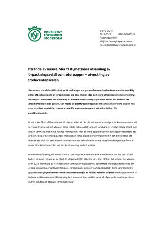 Yttrande avseende Mer fastighetsnära insamling av förpackningsavfall och returpapper – utveckling av producentansvaren