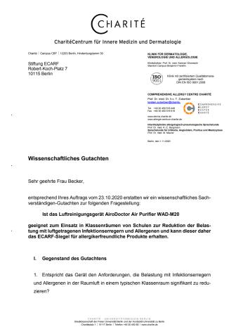 Gutachten der Berliner Charité bestätigt hochwirksame Leistung des AiroDoctor Luftreiniger