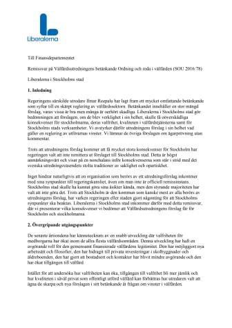 Liberalernas remissvar på Ordning och reda i välfärden (SOU 2016:78)