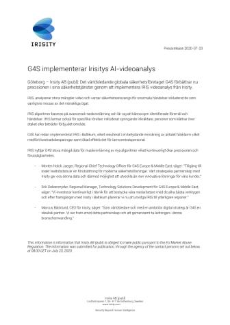 G4S implementerar Irisitys AI-videoanalys