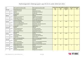 Vismas läns- och branschrapport över nyföretagandet bland ungdomar