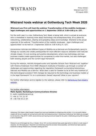 Wistrand håller webinar på Gothenburg Tech Week 2020