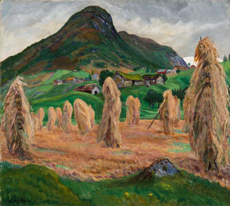 Nikolai Astrup: Kornstaur / Grain Poles, olje på lerret, ca 1920