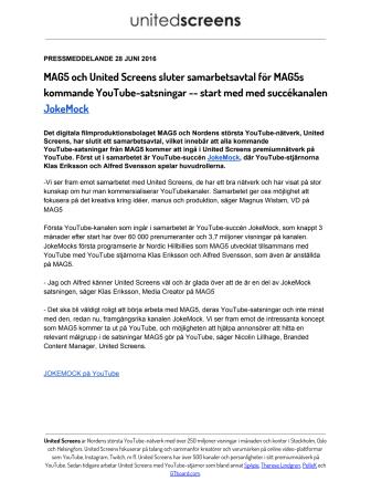 MAG5 och United Screens sluter samarbetsavtal för MAG5s kommande YouTube-satsningar -- start med med succékanalen JokeMock