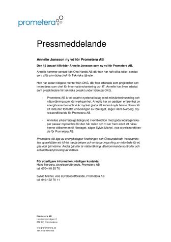Annelie Jonsson ny vd för Prometera AB